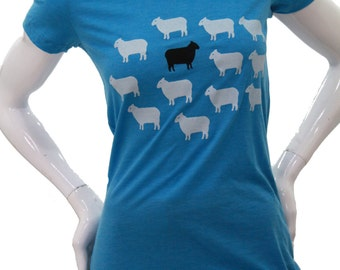 Black Sheep| Soft Lightweight T Shirt| Scoop & V-Neck| Slim fit| Great gift| Animal| Art by MATLEY| Nature.