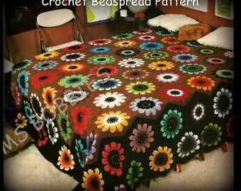 Crochet Bedspread Pattern - Peony - Afghan - Granny Square - PDF 01275679 - A Best Seller