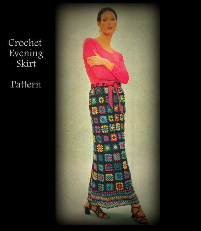 Granny Square Crochet Skirt Pattern Misses Sm Med Lg by ...