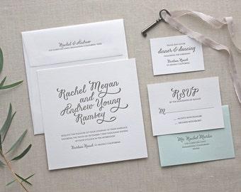 Letterpress Wedding Invitation - Durham Design - Foil Stamping- Calligraphy,Traditional, Elegant, Simple, Classic, Script, Square, Modern