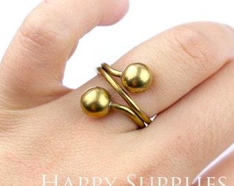 2Pcs 17mm Raw Brass Ring With 2 Bead  (ZJ145)