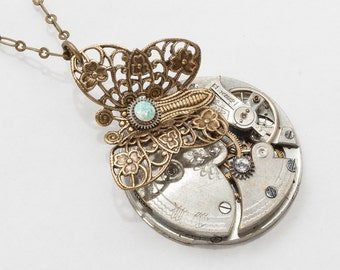 Steampunk Necklace Vintage silver pocket watch movement gears with Opal & crystal gold filigree butterfly pendant Steampunk jewelry 2628