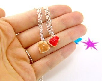 Sandwich Jewelry Food Jewelry // MADE to ORDER // PB and J Best Friend Necklaces // Best Friend Gift