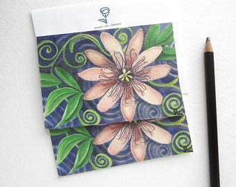 passion flower cards, purple flowers card, botanical art card set, flower stationery, flowers notecards