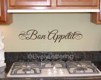 Bon Appetit Wall Decal Elegant French Quotes Dining Room Vinyl Lettering Kitchen