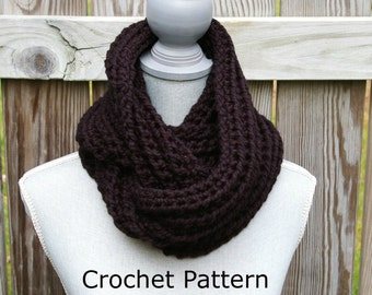 Crochet Pattern Infinity Scarf Chunky Ribbed Instant Download PDF