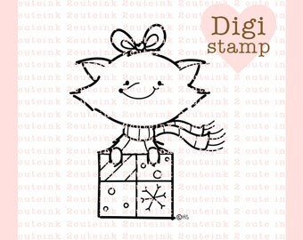 Fox Present Digital Stamp Line Art for Card Making, Paper Crafts, Scrapbooking, Hand Embroidery, Jewlery, Coloring Pages