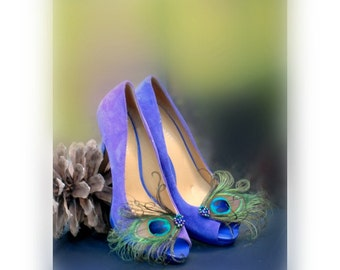 Peacock Shoe Clips Pearl Beads. Statement Feminine Couture, Teal Emerald Agate Green Royal, Maid Matron of Honor Bride Bridal Birthday Party