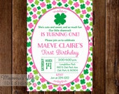 Pink and Green Shamrock Birthday Invitation, Shamrock Invitation, St Patrick's Day Invitation, 4 leaf Clover Invitation, Lucky Charm Invite
