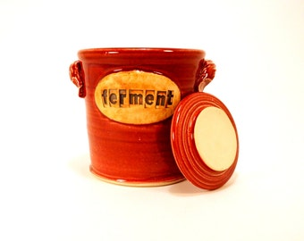 fermentation & pickling crock . ceramic pottery jar  for sauerkraut or kimchi in cranberry red