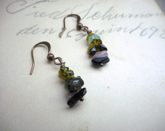 PRISMATIC. Watermelon Tourmaline Tower crystal Rustic copper zen earrings