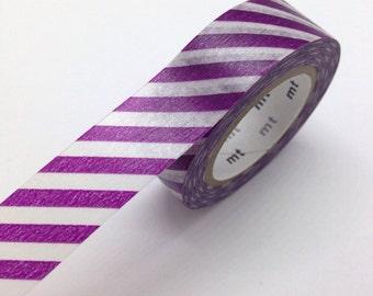 Diagonal Deep Stripe purple Washi Tape Japanese MT Purple Masking Tape - Pretty Tape