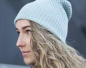 Cashmere Beanie Color Sea Blue Women Hat Winter Hat