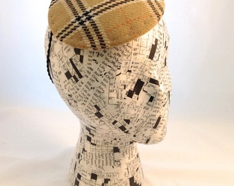 Button Hat Tan Brown Plaid Wool Fascinator Made to Order