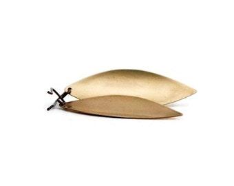 Gold Leaf Earrings / Brass Jewelry / Brass Leaf Earrings / Leaf Earrings / Brass Earrings
