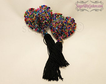 Caliope Riot Heart-Shaped Rainbow Rhinestone Nipple Pasties - SugarKitty Couture