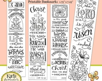 Color Your Own Jesus is Alive Bible Bookmarks Bible Journaling INSTANT Download Scripture Digital Printable Download Christian Religious