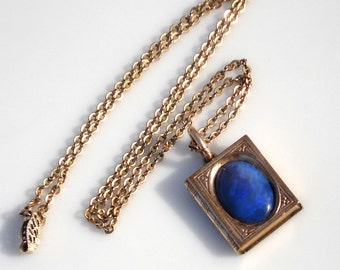 "Antique Gold Book Pendant with Opal & 18"" Chain"