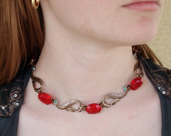 SALE /// Vintage Glamorous Gold over Sterling Choker with Cherry Red Stones