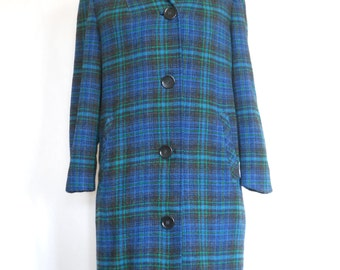 Vintage Ladies Pendleton Coat • 1960's-70's Blue Green Black Plaid