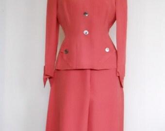 1940s Ladies Rayon Suit • Vintage Swansdown Suit • Salmon Jacket and Skirt