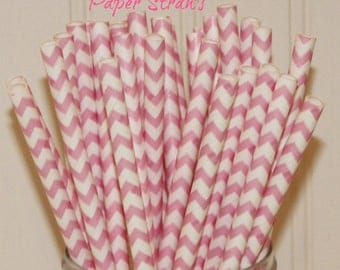 Paper Straws, MADE IN USA, 25 Blush Pink Chevron Paper Straws, Pink Paper Straws, Girls Party Straws, Frozen Party Straws, Birthday Party