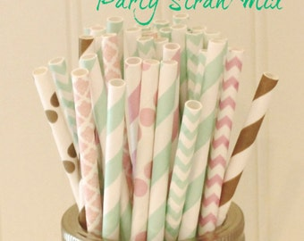 Paper Straws, 25 Mint Blush & Gold Paper Straw Mix, Paper Drink Straws, Party Straws, Mint Paper Straws, Blush Pink Straws, Gold Drink Straw