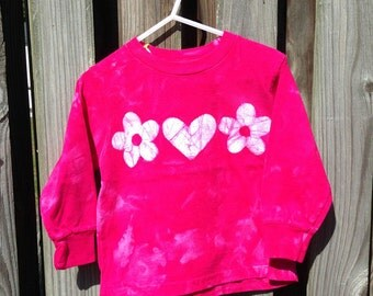 Pink Girls Shirt, Flower Girls Shirt, Long Sleeve Girls Shirt, Girls Flower Shirt, Girls Pink Shirt, Batik Girls Shirt, Girls Shirt (3T)