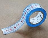 Blue Ruler - Japanese Washi Paper Masking Tape - mt ex, Kawaii Scrapbooking, Adhesive Tape, Card Making Supllies, Journal Washi, Planner