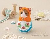 Felt Clockwork Toy, Russian Matryoshka  Doll / Kitty Cat, Japanese DIY Kit, Die Cut Felt  Easy Pattern & Kits, Kawaii Retro Style,  F117