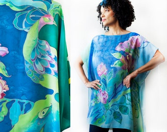 Hand Painted Silk Blouse Tunic Silk Kimono Caftan Silk Dress Kaftan Peacock  and Peonies Custom Order