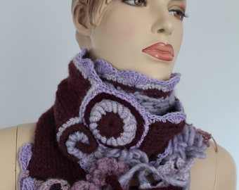 Ready to ship - Chic Boho Hippie Long Chunky Plum Lilac Hand knit  Crochet Scarf  with Removable Brooch / Fall Fashion