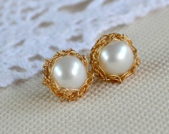 Crochet pearl stud earrings - gold filled, bridal jewelry