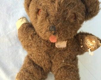 Original Antique MOHAIR Teddy Bear musical Rock A Bye Baby