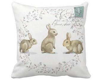 Pillow Cover Bunny Rabbit Easter Pillow Cover or Nursery Decor Pillow