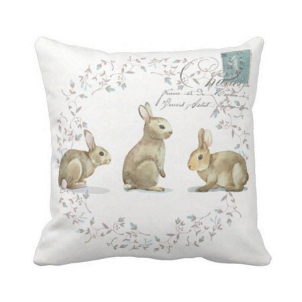 Decorative Pillows With Rabbits : Pillow Cover Bunny Rabbit Easter Pillow Cover or Nursery Decor