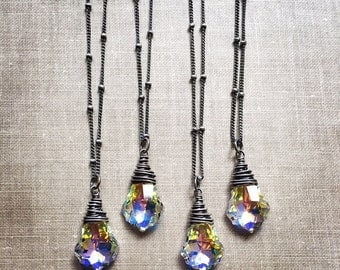 Swarovski Crystal Necklace, Baroque Rainbow AB Iridescent Necklace, Sterling Silver Beaded Chain Necklace