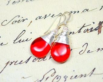 Cherry Red Earrings, Lipstick Red Teardrop Earrings, Red Glass Drops, Simple Wire Wrap Jewelry, Minimalist Jewelry, Modern Jewelry