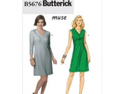 Sew & Make Butterick B5676 SEWING PATTERN - Womens Muse Fitted Designer V-Neck Knit Dresses sz 16-22