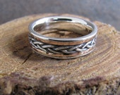 Mixed Metal Inlay Mans Ring with Rose Gold and Argentium Sterling Silver