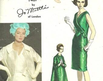 Vogue 1407 / Couturier Design / Vintage Designer Sewing Pattern By Jo Mattli / Dress And Coat / Size 12 Bust 32