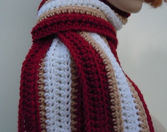 Foorball Team Inspired Scarf, Deep Red Gold and White Scarf, Sports Team Colors Scarf - Crocheted Scarf