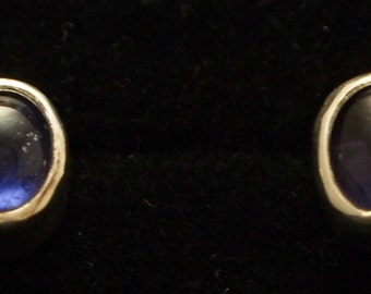 Sterling Silver and Iolite Post Earrings