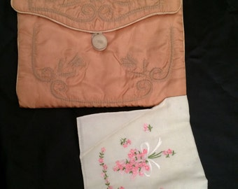 Vintage 1930's Quilted Faille Hankie Keeper Case and One Embroidered Hankie
