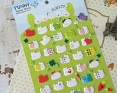 Funny Sticker World bunny RABBIT embossed deco puffy stickers