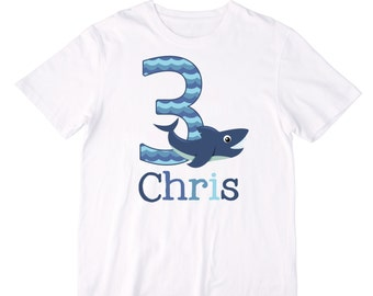 Personalized Shark Birthday Shirt or Bodysuit - Personalized with Any Name and Age!