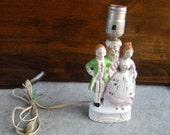 Vintage Cottage Chic European figures lamp