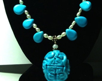 Turquoise Necklace Turquoise Carved Shou Symbol Pendant and Necklace with Pearls and Sterling Silver Toggle
