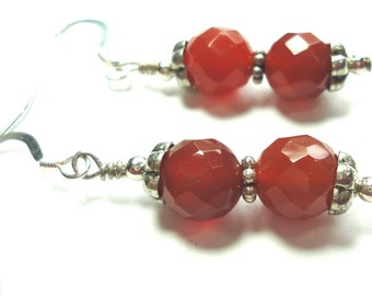 Red Carnelian Faceted  Bead Earrings with Sterling Genuine Red Carnelian Earrings w Sterling Bali and Sterling Ear Hooks