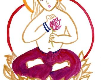 Buddha Zen Painting, Zen Goddess, Buddha Kanzeon, Kannon or Kwan Yin Buddha, Fine Art Painting Original, zen decor, zen illustration, taoist